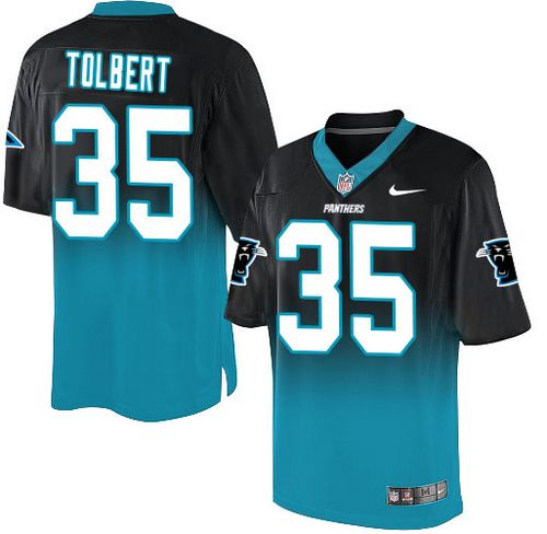 Nike Panthers #35 Mike Tolbert Black/Blue Men's Stitched NFL Elite Fadeaway Fashion Jersey