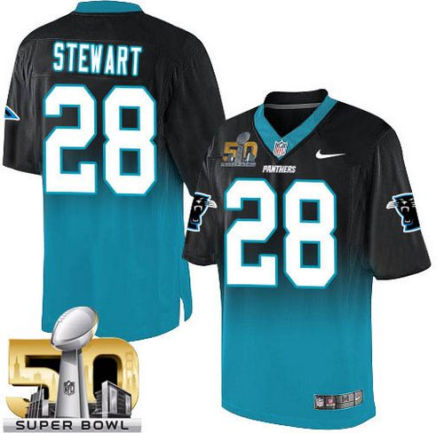 Nike Panthers #28 Jonathan Stewart Black/Blue Super Bowl 50 Men's Stitched NFL Elite Fadeaway Fashion Jersey
