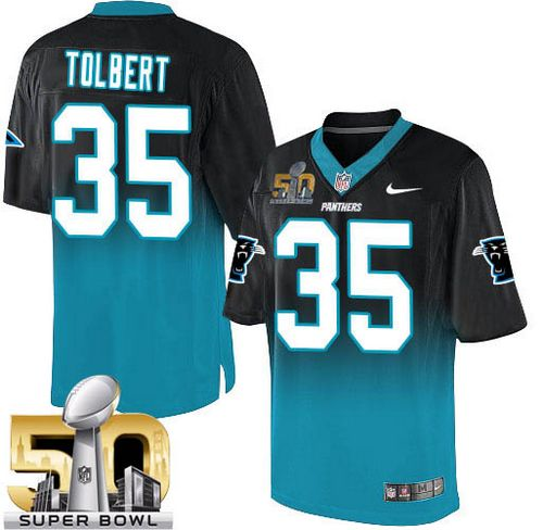 Nike Panthers #35 Mike Tolbert Black/Blue Super Bowl 50 Men's Stitched NFL Elite Fadeaway Fashion Jersey