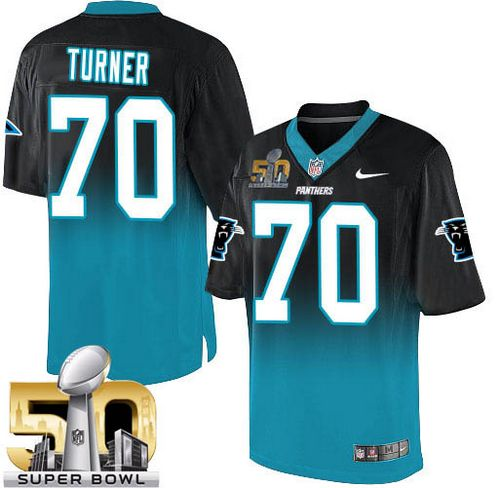Nike Panthers #70 Trai Turner Black/Blue Super Bowl 50 Men's Stitched NFL Elite Fadeaway Fashion Jersey