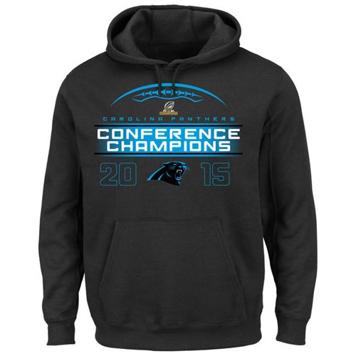 Carolina Panthers Majestic 2015 NFC Conference Champions Supreme Ruler VIII Pullover Hoodie Black