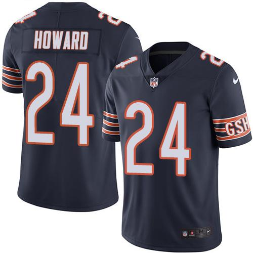 Nike Bears #24 Jordan Howard Navy Blue Men's Stitched NFL Limited Rush Jersey