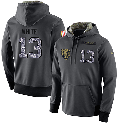 NFL Men's Nike Chicago Bears #13 Kevin White Stitched Black Anthracite Salute to Service Player Performance Hoodie