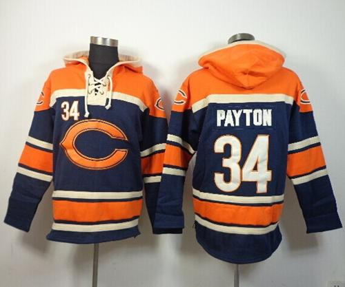 Nike Bears #34 Walter Payton Navy Blue Sawyer Hooded Sweatshirt NFL Hoodie