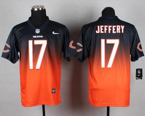 Nike Bears #17 Alshon Jeffery Navy Blue/Orange Men's Stitched NFL Elite Fadeaway Fashion Jersey