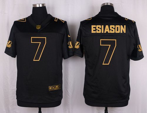 Nike Bengals #7 Boomer Esiason Black Men's Stitched NFL Elite Pro Line Gold Collection Jersey
