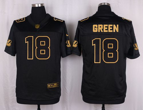 Nike Bengals #18 A.J. Green Black Men's Stitched NFL Elite Pro Line Gold Collection Jersey