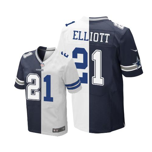 Nike Cowboys #21 Ezekiel Elliott Navy Blue/White Men's Stitched NFL Elite Split Jersey