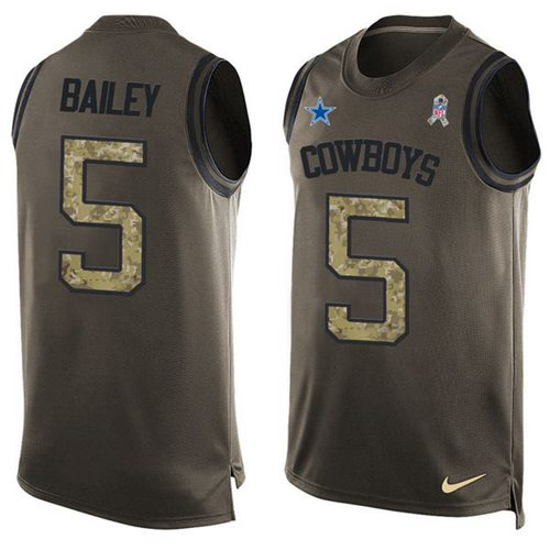 Nike Cowboys #5 Dan Bailey Green Men's Stitched NFL Limited Salute To Service Tank Top Jersey