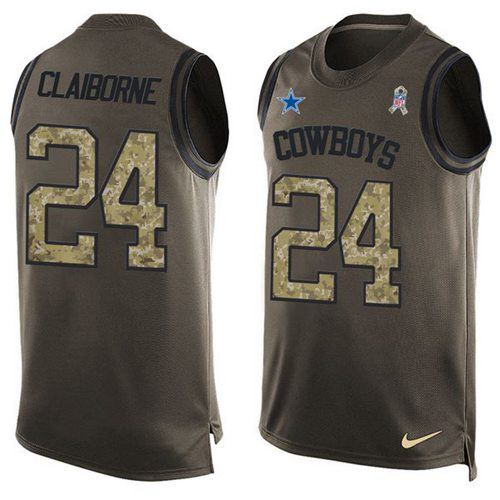 Nike Cowboys #24 Morris Claiborne Green Men's Stitched NFL Limited Salute To Service Tank Top Jersey
