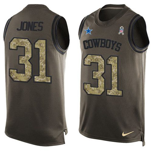 Nike Cowboys #31 Byron Jones Green Men's Stitched NFL Limited Salute To Service Tank Top Jersey