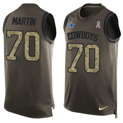 Nike Cowboys #70 Zack Martin Green Men's Stitched NFL Limited Salute To Service Tank Top Jersey