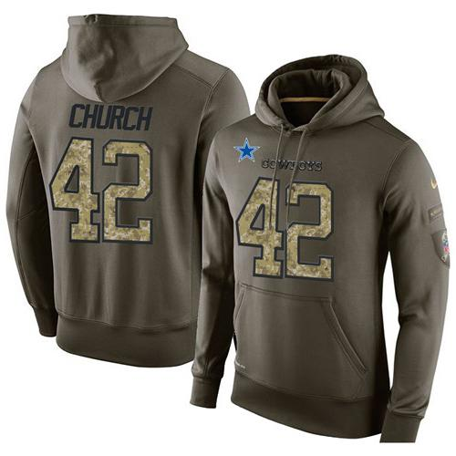 NFL Men's Nike Dallas Cowboys #42 Barry Church Stitched Green Olive Salute To Service KO Performance Hoodie