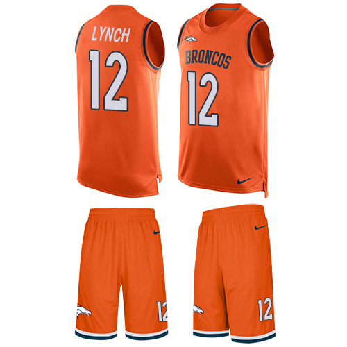Nike Broncos #12 Paxton Lynch Orange Team Color Men's Stitched NFL Limited Tank Top Suit Jersey
