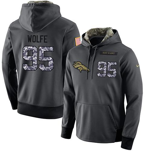 NFL Men's Nike Denver Broncos #95 Derek Wolfe Stitched Black Anthracite Salute to Service Player Performance Hoodie