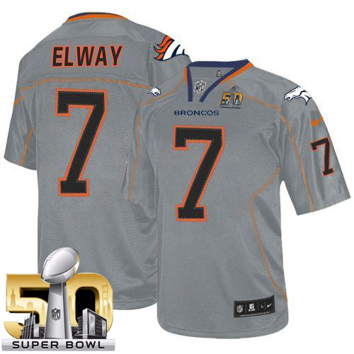 Nike Broncos #7 John Elway Lights Out Grey Super Bowl 50 Men's Stitched NFL Elite Jersey