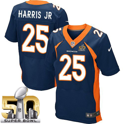 Nike Broncos #25 Chris Harris Jr Navy Blue Alternate Super Bowl 50 Men's Stitched NFL New Elite Jersey