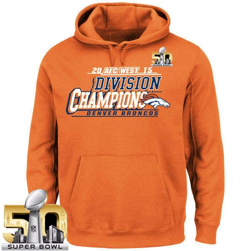 Men's Denver Broncos Majestic Orange 2015 AFC West Division Champions Pullover Super Bowl 50 Hoodie