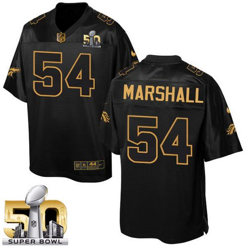 Nike Broncos #54 Brandon Marshall Black Super Bowl 50 Men's Stitched NFL Elite Pro Line Gold Collection Jersey