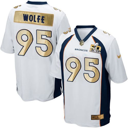 Nike Broncos #95 Derek Wolfe White Men's Stitched NFL Game Super Bowl 50 Collection Jersey