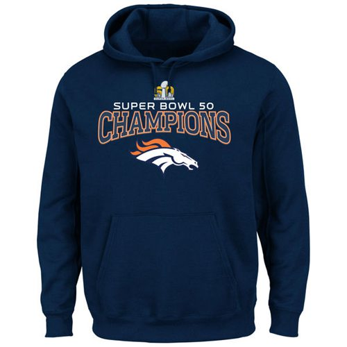 Denver Broncos Majestic Big & Tall Super Bowl 50 Champions Choice VIII Pullover Hoodie Navy