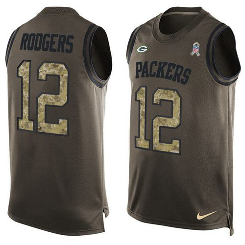 Nike Packers #12 Aaron Rodgers Green Men's Stitched NFL Limited Salute To Service Tank Top Jersey