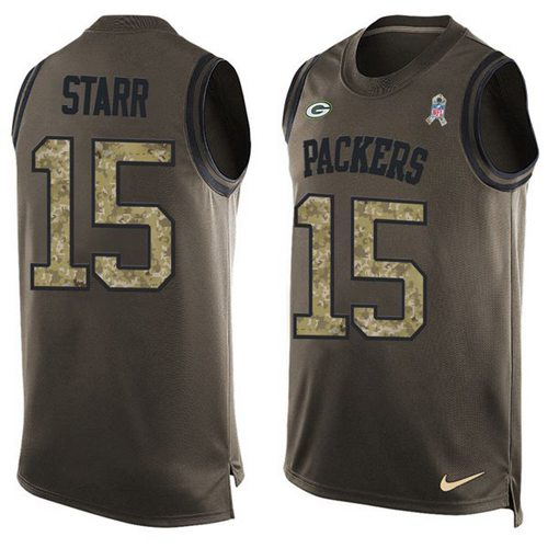 Nike Packers #15 Bart Starr Green Men's Stitched NFL Limited Salute To Service Tank Top Jersey