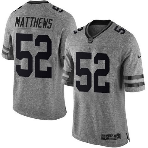 Nike Packers #52 Clay Matthews Gray Men's Stitched NFL Limited Gridiron Gray Jersey