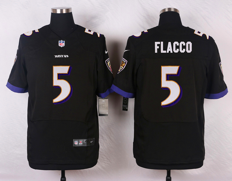 Nike Ravens #5 Joe Flacco Black Men's Stitched NFL New Elite Jersey