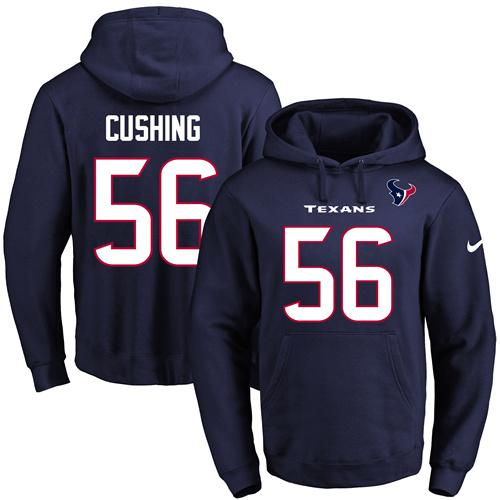 Nike Texans #56 Brian Cushing Navy Blue Name & Number Pullover NFL Hoodie