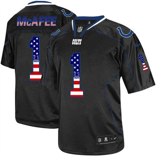 Nike Colts #1 Pat McAfee Black Men's Stitched NFL Elite USA Flag Fashion Jersey