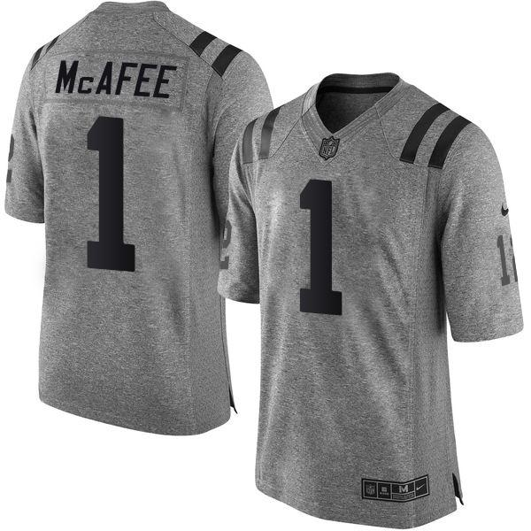 Nike Colts #1 Pat McAfee Gray Men's Stitched NFL Limited Gridiron Gray Jersey
