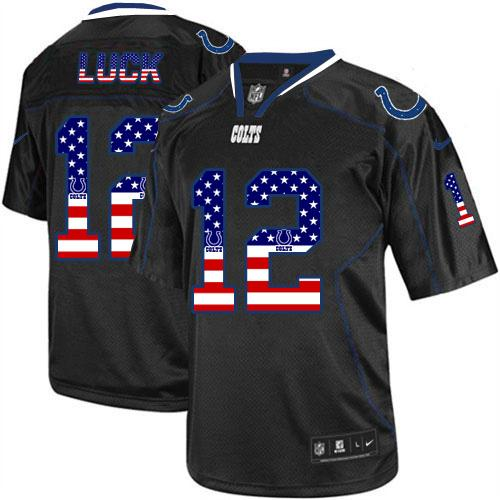 Nike Colts #12 Andrew Luck Black Men's Stitched NFL Elite USA Flag Fashion Jersey