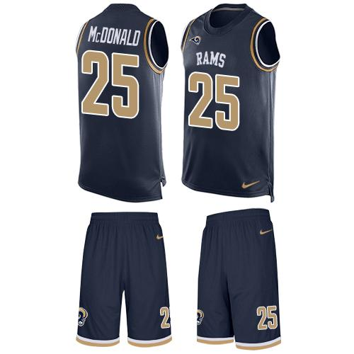Nike Rams #25 T.J. McDonald Navy Blue Team Color Men's Stitched NFL Limited Tank Top Suit Jersey