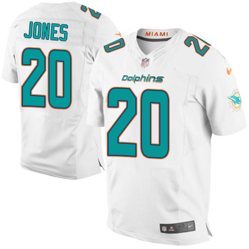 Nike Dolphins #20 Reshad Jones White Men's Stitched NFL New Elite Jersey