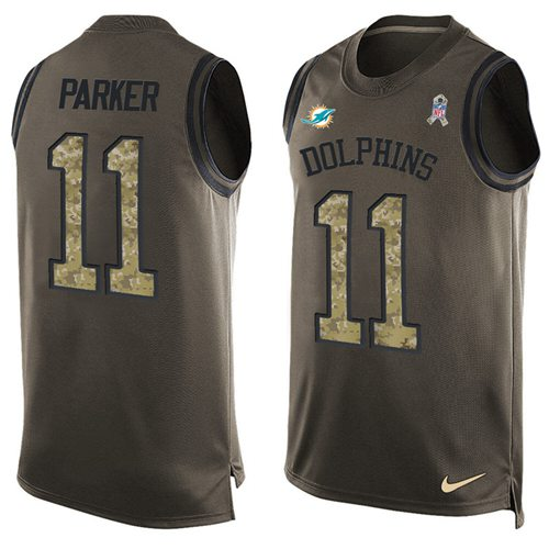 Nike Dolphins #11 DeVante Parker Green Men's Stitched NFL Limited Salute To Service Tank Top Jersey