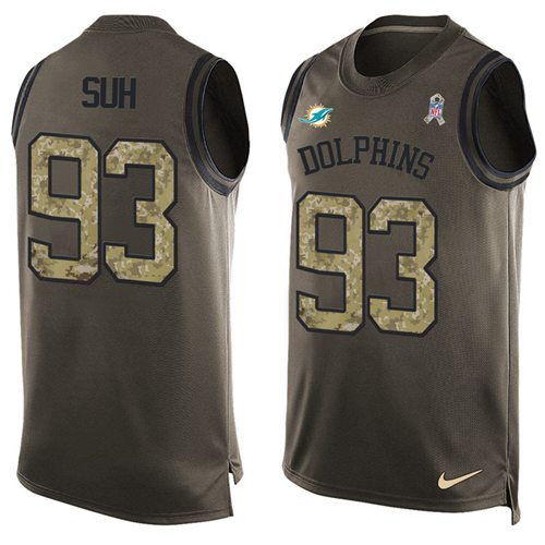 Nike Dolphins #93 Ndamukong Suh Green Men's Stitched NFL Limited Salute To Service Tank Top Jersey