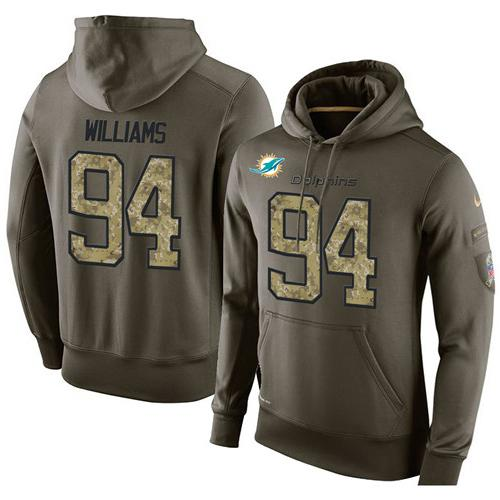 NFL Men's Nike Miami Dolphins #94 Mario Williams Stitched Green Olive Salute To Service KO Performance Hoodie