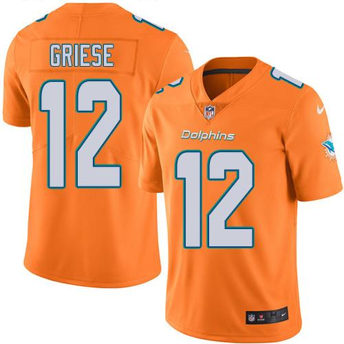 Nike Dolphins #12 Bob Griese Orange Men's Stitched NFL Limited Rush Jersey
