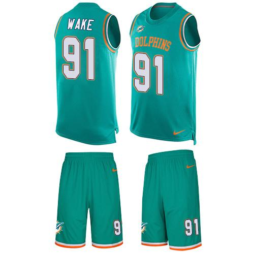 Nike Dolphins #91 Cameron Wake Aqua Green Team Color Men's Stitched NFL Limited Tank Top Suit Jersey