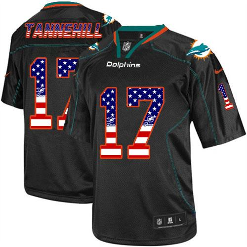 Nike Dolphins #17 Ryan Tannehill Black Men's Stitched NFL Elite USA Flag Fashion Jersey
