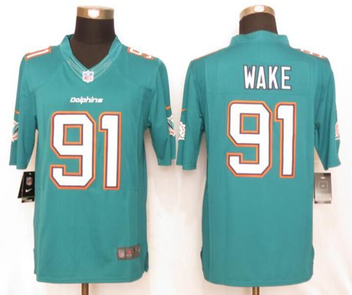 Nike Dolphins #91 Cameron Wake Aqua Green Team Color Men's Stitched NFL Limited Jersey