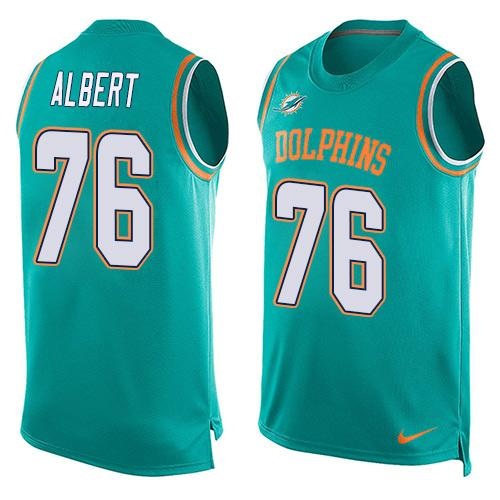 Nike Dolphins #76 Branden Albert Aqua Green Team Color Men's Stitched NFL Limited Tank Top Jersey