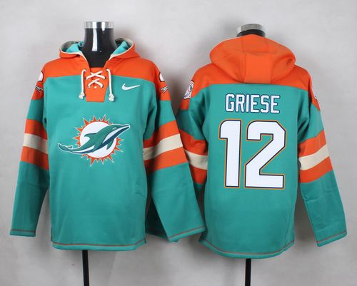 Nike Dolphins #12 Bob Griese Aqua Green Player Pullover NFL Hoodie