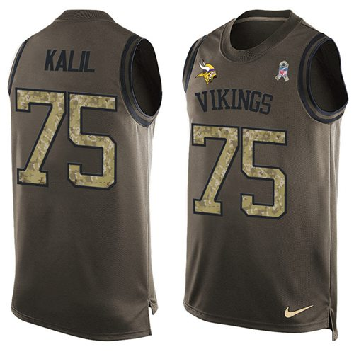 Nike Vikings #75 Matt Kalil Green Men's Stitched NFL Limited Salute To Service Tank Top Jersey