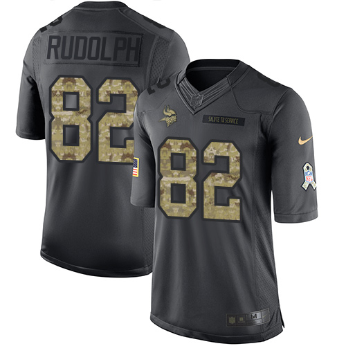 Nike Vikings #82 Kyle Rudolph Black Men's Stitched NFL Limited 2016 Salute To Service Jersey