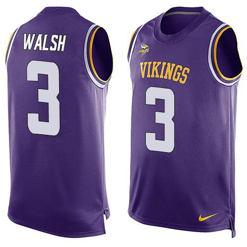 Nike Vikings #3 Blair Walsh Purple Team Color Men's Stitched NFL Limited Tank Top Jersey
