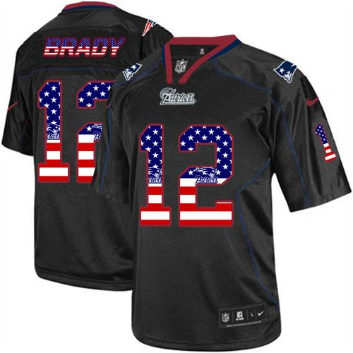 Nike Patriots #12 Tom Brady Black Men's Stitched NFL Elite USA Flag Fashion Jersey