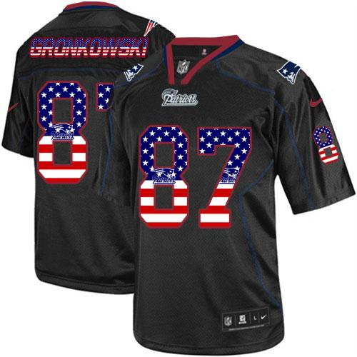 Nike Patriots #87 Rob Gronkowski Black Men's Stitched NFL Elite USA Flag Fashion Jersey