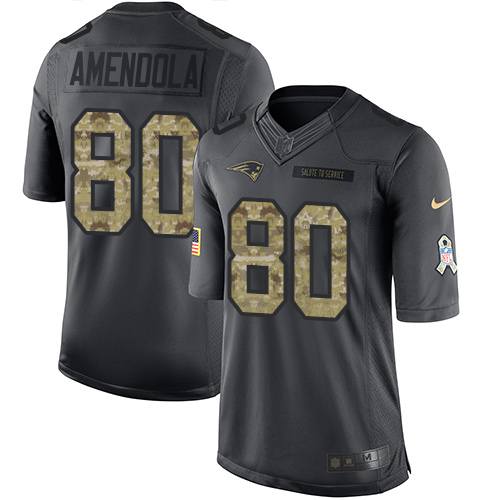 Nike Patriots #80 Danny Amendola Black Men's Stitched NFL Limited 2016 Salute To Service Jersey